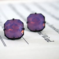 Cyclamen Opal Swarovski Crystal Stud Earrings, Dark Oxidized Brass, Cushion Cut Square, Estate Style, Fall Fashion, Stocking Stuffer
