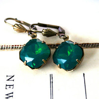 Palace Green Opal Swarovski Crystals, Cushion Cut Square, Oxidized Brass, Estate Style, Christmas Gift Ideas For Her