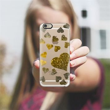 Hearts with gold glitter iPhone 6 case by VanessaGF | Casetify