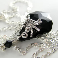Sterling Silver Spider Necklace Black Swarovski Baroque Crystal Pendant Necklace Drop Chain Necklace
