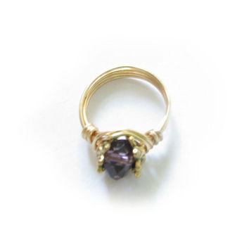 Purple Bead Wire Wrapped Ring Any Size Jewelry Aluminum or Brass or Copper birthday gift