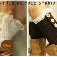 SALE lace leg warmers ROOMIER calf fit  womens 3 wood button ivory or chocolate by Catherine Cole Studio legwarmers knit rib