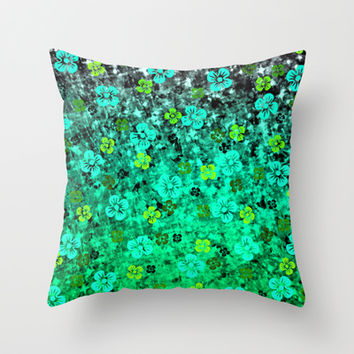 LUCK OF THE IRISH Colorful Emerald Green Ombre St Patricks Day Floral Shamrock Four Leaf Clover Art Throw Pillow by EbiEmporium
