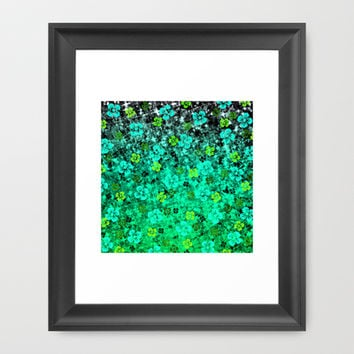 LUCK OF THE IRISH Colorful Emerald Green Ombre St Patricks Day Floral Shamrock Four Leaf Clover Art Framed Art Print by EbiEmporium