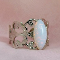Rings,Opal Ring, Silver Adjustable Opal Rings, Marquise Cut Opal Ring