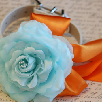 Blue Floral Dog Collar, Blue and Orange wedding, Pet wedding accessories, Beach Wedding idea, Blue and Orange