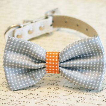 Gray and Orange Dog Bow Tie,Gray Polka dots, Pet Accessory, Birthday Gift, Dog Lovers, Pet wedding accessory