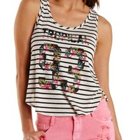 Tropical 93 Graphic Striped Tank Top by Charlotte Russe - Ivory Combo