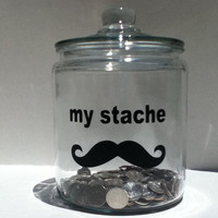 my stache  (mustache) vinyl decal FREE SHIP in basic black