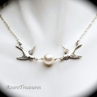 Love Birds Pearl and Sparrow Necklace Sterling by AzureTreasures