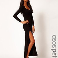 ASOS PETITE Maxi Dress With Long Sleeves And Split at asos.com