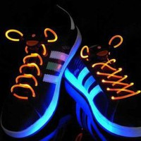 Special Stylish 3-Mode Colored LED Super Flashing Orange Night Light Shoelaces for Halloween Party