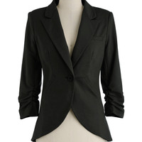 ModCloth Menswear Inspired Mid-length 3 Fine and Sandy Blazer in Noir