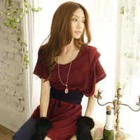 YESSTYLE: Tokyo Fashion- Dolman-Sleeve Knit Dress (Maroon - One Size) - Free International Shipping on orders over $150