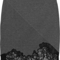 Robert Rodriguez Lace-trimmed stretch-jersey skirt - 65% Off Now at THE OUTNET