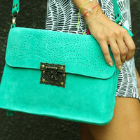Sea Green SUEDE LEATHER tote handbag/purse