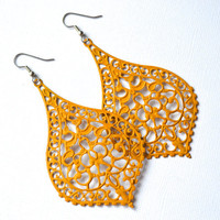 Mustard Yellow Filigree Bohemian Teardrops . Earrings . Teague Collection