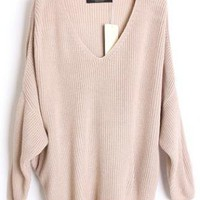 Loose Bat Sleeve Beige Sweater S001735