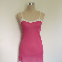 60s hot pink nylon and lace slip. Vintage lingerie. 60s babydoll. Hot pink with white lace trim. SMALL.
