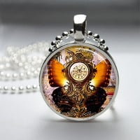 Photo Art Glass Bezel Pendant Steampunk Butterfly Necklace