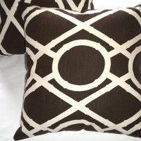 Pair of Designer pillow covers, chocolate brown and ivory 18 x 18