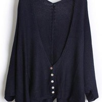 Loose Bat Sleeve Navy Sweater S001658