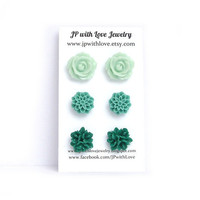 Stud earrings, mint Stud earrings, teal stud earrings, green Stud earrings,