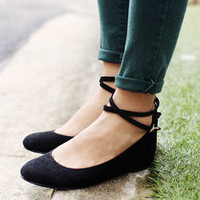 feminine suede mary jane flat with hidden wedge heel