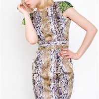 Naven Party Dress with Straight Skirt- Naven Python Dress- $160