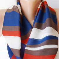 Infinity Scarf Loop Scarf Circle Scarf Cowl Scarf ..Blue, white and brown wave...Chiffon... Scarf...