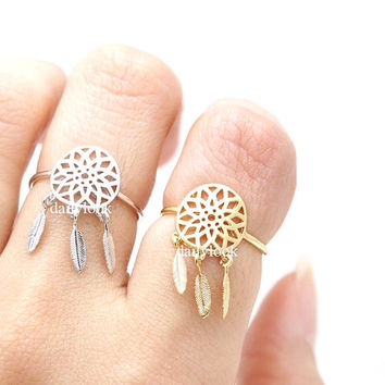 dream catcher ring, dream catcher, adjustable ring, stretch ring, woman ring, man ring, unique ring, wish ring, boho ring, indian ring