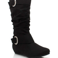 slouchy-buckled-suede-boot BLACK - GoJane.com