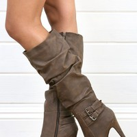 Wild Rose Gilly45 Brown Buckled Platform Knee Boots and Shop Boots at MakeMeChic.com