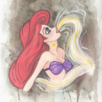 Ariel singing Art Print by Carotoki Art And Love
