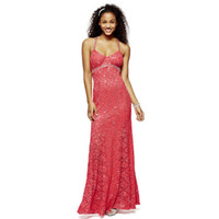 My Michelle® Lace Criss-Cross Back Long Mermaid Dress