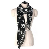 Amazon.com: Chiffon Skull Print Scarf - BLACK: Everything Else