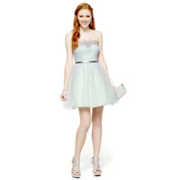 City Triangles® Strapless Belted Tulle Dress