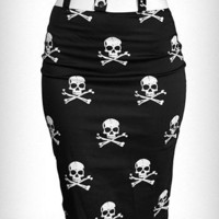 Poison Skull High Waist Skirt | PLASTICLAND