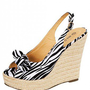 BLACK-WHITE ZEBRA PRINTED WEDGE WITH BOW @ KiwiLook fashion