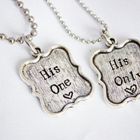 His One, His Only - Hand Stamped Couple Necklace Set - LGBT Jewelry - Great Gift for Gay Couples