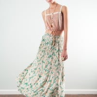 Pleated Floral Midi Skirt | Lucca Couture