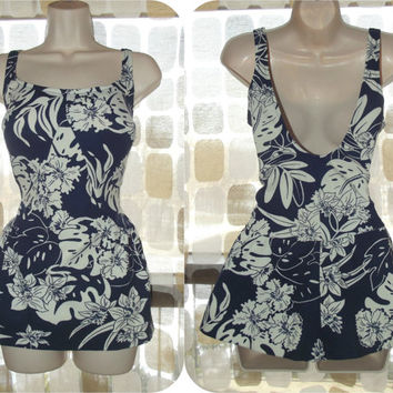 Vintage 60s Navy Blue & White Tropical Skirted One Piece Pin-Up Swimsuit VLV L/XL/1X Plus Size Robby Len