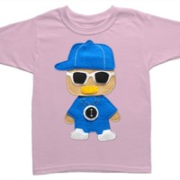 Flavor Flav Rapper Toddler Shirt: Handmade Felt Appliqued T-Shirt: Light Pink