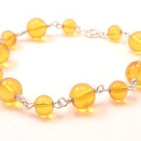Handmade Chain Bracelet in Sunshine Yellow and Silver Wrapped Wire