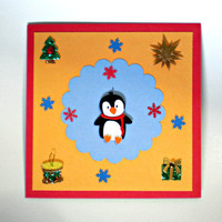 Holiday Card - Penguin & Snowflakes