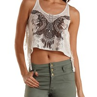 Eagle Graphic Rope Strap Crop Top by Charlotte Russe - Oatmeal
