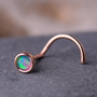 NOSE stud/ ring  / OPAL Stone 2mm in 3mm 14K rose gold filled setting. Also Cartilage or Ear Stud handcrafted