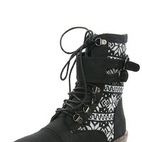 Bumper Finny01 Black Nordic Laced Combat Boots shop Boots at MakeMeChic.com