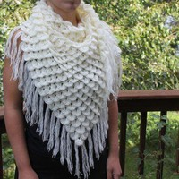 Crocodile Stitch Triangle Shawl - Crochet PDF Pattern - Permission to Sell Finished Items