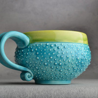 Dottie Mug: Made To Order Caribbean Blue Dottie Soup/Cocoa Mug